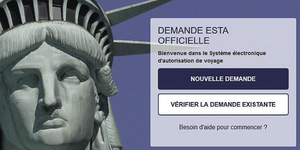 Formulaire officiel de demande ESTA pour les USA
